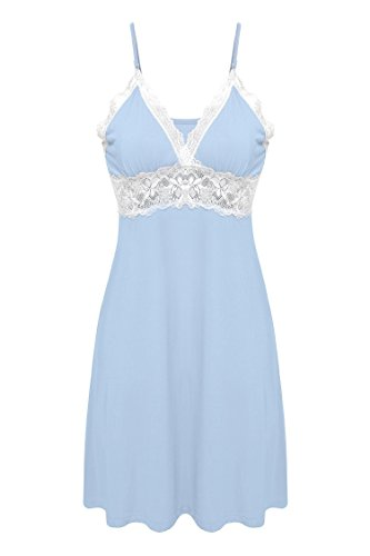 (Ekouaer Womens Seamless V-Neck Organic Bamboo Chemise Lounge Wear Dress (Blue, Small))