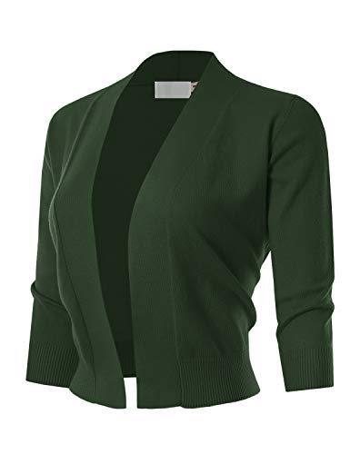 MAYSIX APPAREL Womens 3/4 Sleeve Solid Open Bolero Cropped Cardigan OLIVE L - Green Sweater Jacket