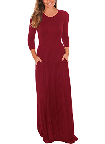 Dearlovers Woman Round Neck Long Sleeve Maxi Pocket Dress Medium Size Red -