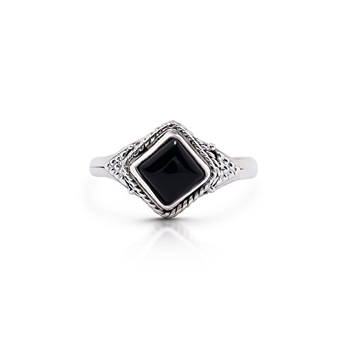 (Koral Jewelry Black Onyx Vintage Gipsy Small Ring 925 Sterling Silver Square Stone Boho Chic US Size 5 6 7 8 9 (7.5))
