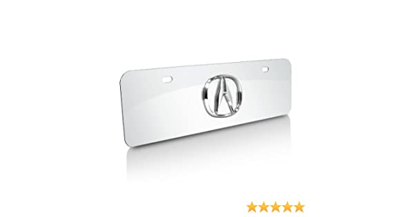 Au-Tomotive Gold INC Acura 3D Name Black Acrylic License Plate with Chrome Frame Kit