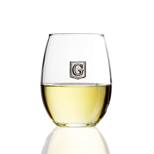 Fine Occasion Personalized Stemless Wine Glass with Letter Crest (G, 15 oz)