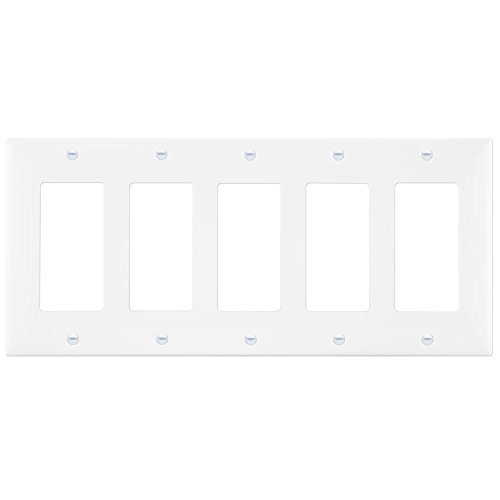 Cover Components (Decorator Wall plate by Enerlites 8835-W 5-Gang, Standard Size, White, Unbreakable Poly-carbonate Plastic, Five Device Cover Replacement for Paddle Rocker Light Switch)