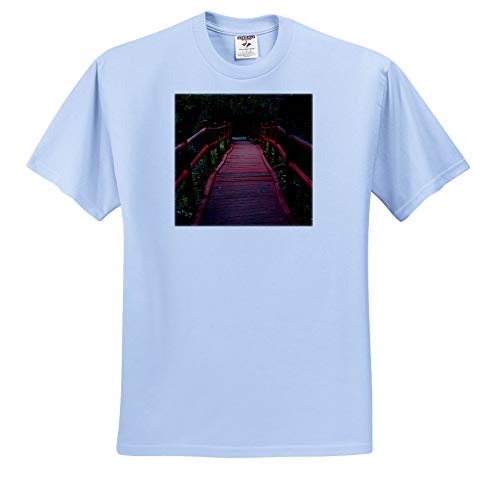 3dRose Stamp City - Architecture - Photograph of red Path Bridge at Magnolia Plantation and Gardens. - T-Shirts - Light Blue Infant Lap-Shoulder Tee (12M) (ts_290774_76)