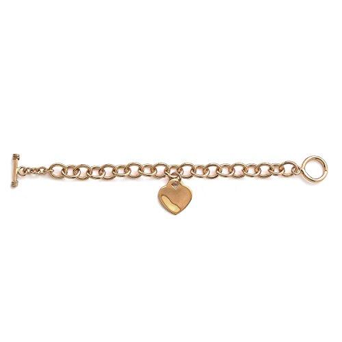 Bracelet Chaine en Plaqué Or Maille 9 mm - Pendentif Coeur 20 mm - Fermoir Cabillaud