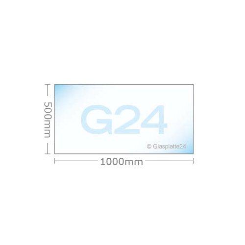 Funkenschutzplatte G24 Rechteck ESG 6mm x 500mm x 1000mm mit 18mm Facette Glasplatte Bodenplatte Kaminplatte Funkenschutz Ofenplatte Kaminglas