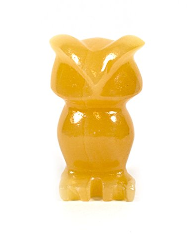 "Orange Stone Owl Figure, 2.5"" long, Carved from Real North American Calcite - The Artisan Mined Series by hBAR"