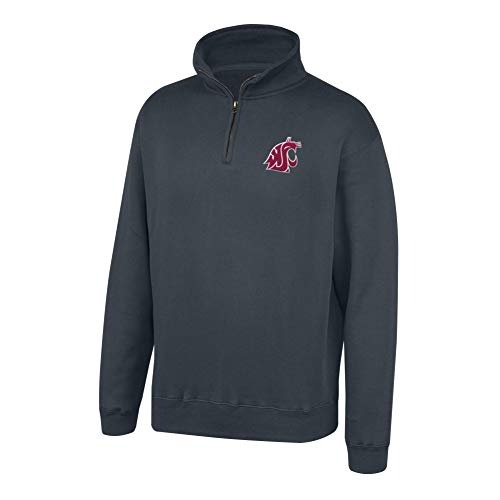 Top of the World NCAA Men's Washington State Cougars Dark Heather Classic Quarter Zip Pullover Charcoal Heather Large