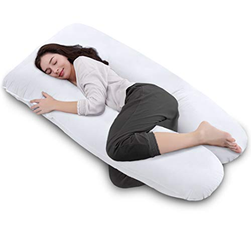 QUEEN went up by 55inch filled Pregnancy Pillow and Maternity Pillow U shaped for Back Pain and Breastfeeding,with removable Cotton Cover(White)