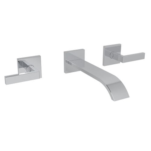Rohl WA751L-APC-2 Cisal Wave Three Hole Wall Mounted Widespread Lavatory Faucet with Lever Handles and 8-Inch Reach Spout, Polished Chrome ()