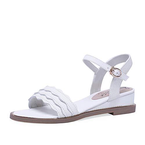 blanc HommesGLTX Talon Aiguille Talons Talons Hauts Sandales 2019 Nouvelle Arrivée Chaussures en Cuir Femme Boucle été Coins Chaussures Femme Simple Confortable Femmes Sandales Noir  économiser 50% -75% de réduction