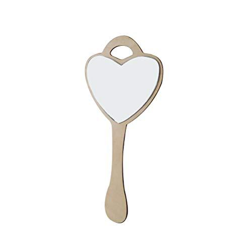 Vosarea Espejo en Forma de corazón Espejo de Mano de acrílico Espejo Colgante con Marco de Madera