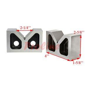 PAIR 4 x 1-5/8 x 2-5/8 Cast Iron V-Blocks V-Block Ground