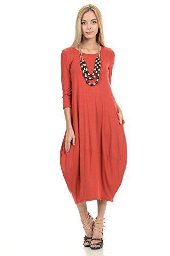 (Pastel by Vivienne Women's Cocoon Midi Dress Medium Rust)