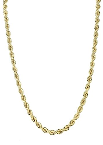 BH 5 STAR 14 K 16 a 30 Pulgadas Oro Amarillo Diamante Corte sólido Cuerda Cadena con Cierre de mosquetón (1,25 a 3,0 mm)