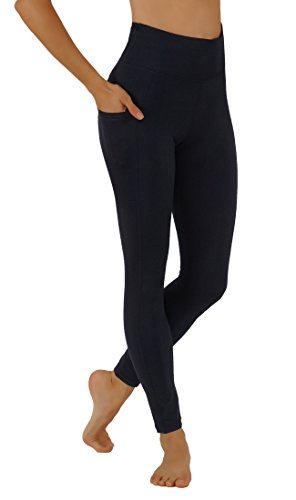 Pro Fit Yoga Pants Dry-Fit High Waist with Both Sides Pockets Full Length Workout Running Leggings (L USA 12-14, PF100-Black)