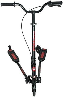 Kidzmotion Swagger 3 ruedas scooter de oscilación del reductor de velocidad vagabundo grande (10-13yr) marco negro / franja roja
