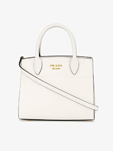(Prada White Leather Mini Bibliotheque Crossbody Handbag 1BA071)