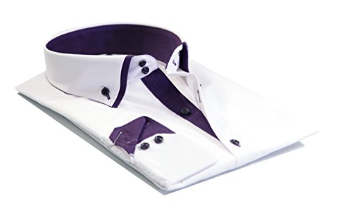 Mens Italian Shirts Double Collar Slim Fit Casual Button Down Shirt (WHITE/PURPLE M )