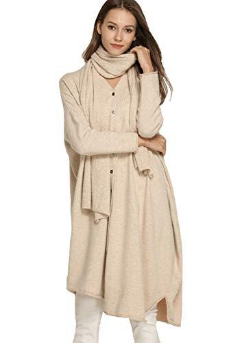 Women's Cardigan Sweater Cardigan Coat Cashmere Wool Casual Irregular Hem Long Sleeve Knit Cardigans with Scarf (One Size, Beige)