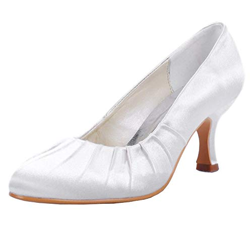 Shoes Puntiaguda Heel Mujer Heel 3 Wedding Para Hhgold Punta Uk Mz605 Pump 5cm Tamaño color 6 Ivory Med Satin Zqvwf1n