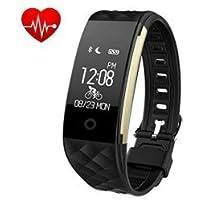 iPosible, Pulsera Actividad Pulsera Inteligente con Pulsómetro, Impermeable, Notificación de SMS para Android y IOS, hombre mujer, Negro