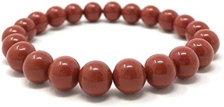 "Jaipur Gems Mart Pulsera Natural de Jaspe Rojo Pulsera del Estiramiento | 7-7,5"" Longitud de Jaspe Rojo Pulsera de Piedras Preciosas | Pulsera Unisex | 8mm Perlas de Forma Redonda | Stretch Bracelet"