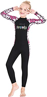 Youth Girls Boys One Piece Water Sports Sun Protection Rash Guard UPF 50+ Long Sleeves Full Suit Swimsuit Wets