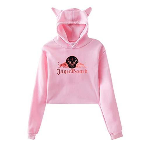 Jagermeister Women Cat Ear Hoodie Sweater Long Sleeve Cute Hoodie Outwear Pink