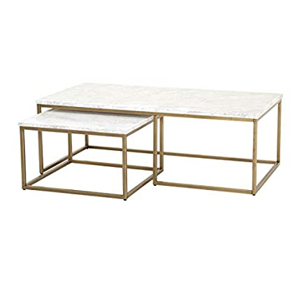 Phenomenal Amazon Com Maklaine Nesting Coffee Table In White Carrera Pabps2019 Chair Design Images Pabps2019Com