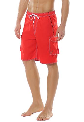 (Yaluntalun Men's Swim Trunks Quick Dry Beach Board Shorts Solid Color Boardshorts with Mesh Lining)