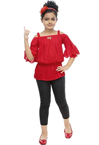 ULTRA TREND Girl's Red Cotton Top Jegging Midi/Knee Length Dress for Casual and Ethinic Wear