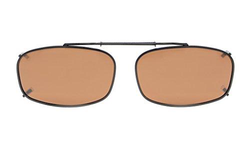 Eyekepper Metal Frame Rim Polarized Lens Clip On Sunglasses 2 1/8x1 3/8