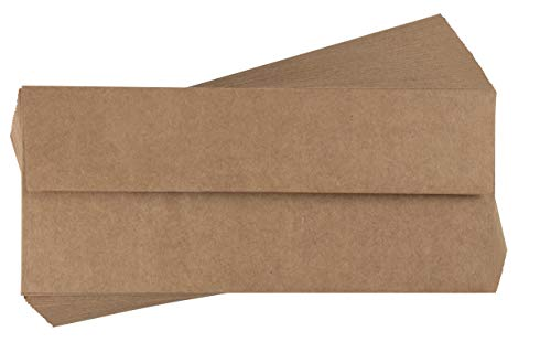 Square Square Flap - Business Envelopes - 100-Pack #10 Kraft Envelopes, Square Flap Envelopes for Office, Checks, Invoices, Letters, Mailings, Windowless Design, Gummed Seal, Brown, 4-1/8 x 9-1/2 Inch