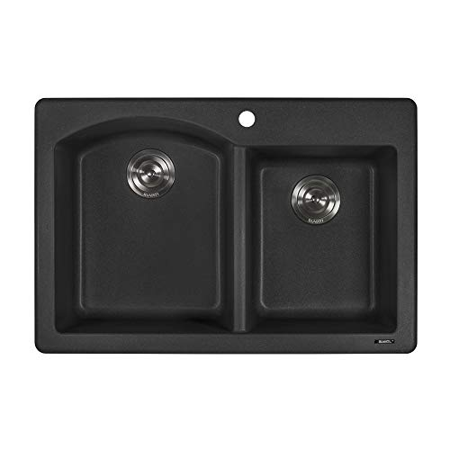 Ruvati 33 x 22 inch Dual-Mount Granite Composite Double Bowl Kitchen Sink - Black Galaxy - (Galaxy Double Bowl)