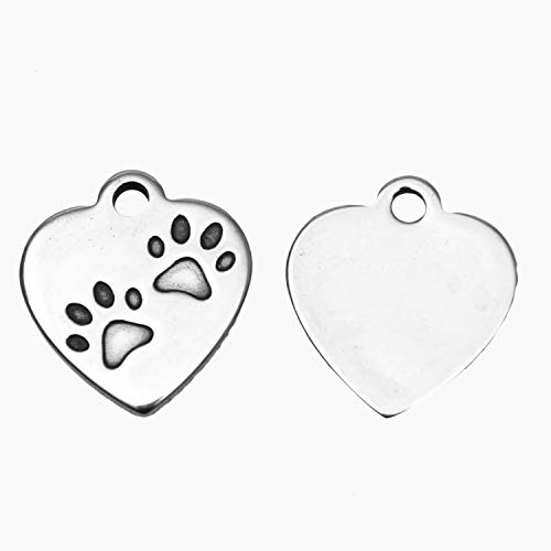 Monrocco 20 Pcs Silver Color Stainless Steel Dog Paw Charm Animal Pawprint Heart Charm Pendant for Bracelets Necklace Jewelry Making