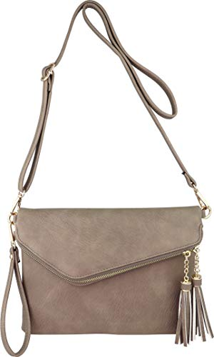 Fold-Over Envelope Wristlet Clutch Crossbody Bag with Tassel Accents (Stone)