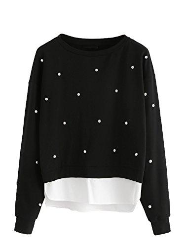 Floerns Women's Beading Splice Crewneck Long Sleeve Sweatshirt Black M