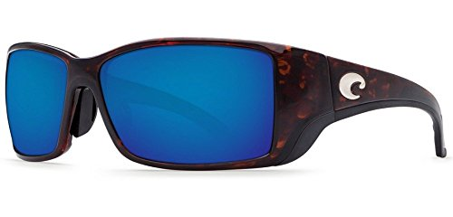 Costa Del Mar Blackfin Sunglasses, Tortoise, Blue Mirror 580 Plastic - Case Costa Sunglass