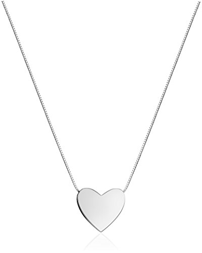 14k White Gold Floating Heart Pendant Necklace, 17