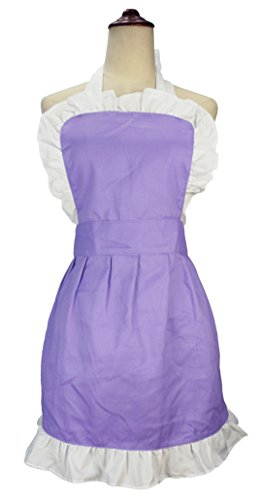 [LilMents Women's Ruffle Outline Retro Apron Kitchen Cake Baking Cooking Cleaning Maid Costume (Purple)] (Retro Housewife Costume)