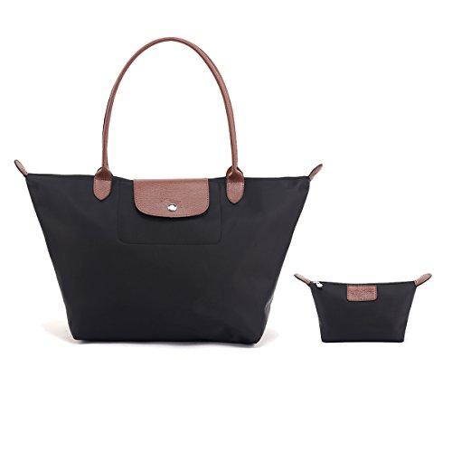 Women's Shoulder bags DOIOWN Waterproof Foldable Tote Bags Handbags Purses (Black)
