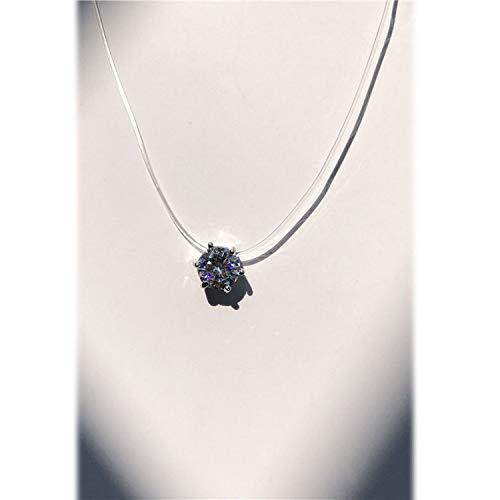 Simple Transparent Thin Lines Rhinestone Pendant Tattoo Choker Necklace for Women Charm Fashion Collar - Hematite Cross Rhinestone