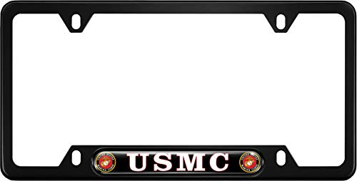 USA Patriotic Anodized Aluminum Thin Top | Narrow Top Car License Plate Frame with USMC | Marines - Black Insert with Free caps - - Frame Marines Plate License