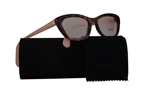 Prada PR03QV Eyeglasses 52-18-140 Spotted Brown Pink w/Demo Clear Lens UE01O1 - Prada Case Eyeglasses