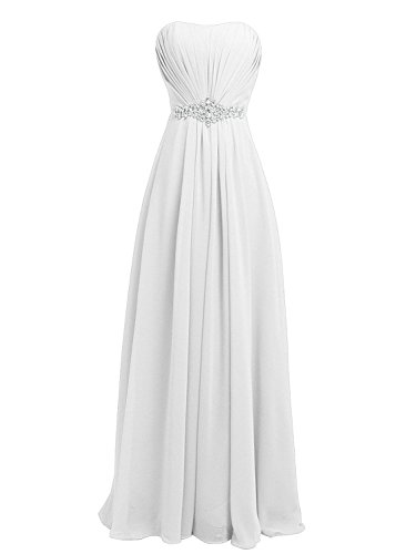 Vestidos Honor de Dama Tirantes de de Fiesta JAEDEN Vestido Baile Blanco Gasa Largo Vestidos de Sin 0qwx4SwAt