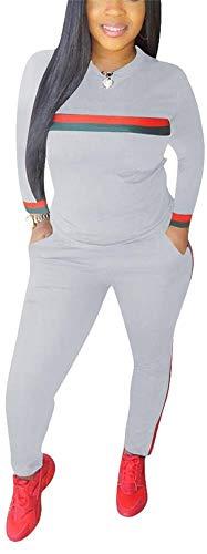 Sexy 2 Piece Sports Outfit Set Shirt Bodycon Pants Joggers Clubwear Tracksuit Sportswear Set Plus Size Grey XXXL -