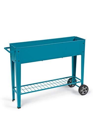 Gardener's Supply Company Modern Blue Steel Mobile Planter Cart (Wheels Raised On Garden)