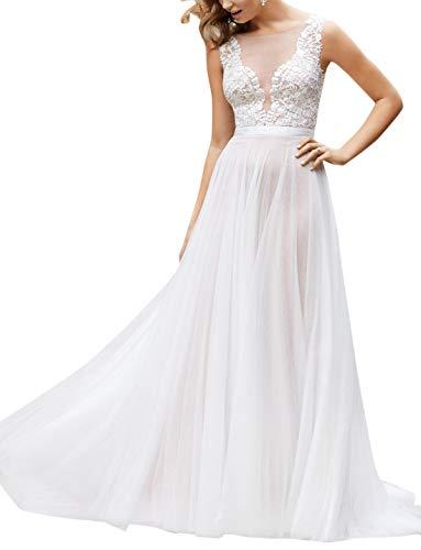 Ikerenwedding Women's V-Neck A-line Lace Tulle Long Beach Wedding Dresses for Bride Ivory3 US2