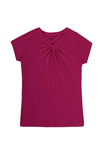 Price comparison product image French Toast Little Girls' Short Sleeve V-Neck T-Shirt, Rose Violet, 5